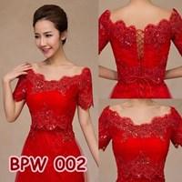 Jual Bolero Pesta Pengantin Wanita l Cardigan Lace Wedding Merah - BPW 002 2