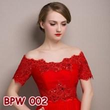 Bolero Pesta Pengantin Wanita l Cardigan Lace Wedding Merah - BPW 002