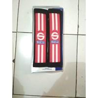 Seatbelt Pad Hitam Merah Garis Dua Racing Sport - Seat Belt Sparco - Bantalan Universal 1