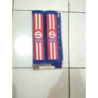 Seatbelt Pad Biru Merah Garis Dua Racing Sport - Seat Belt Sparco - Bantalan Universal 1