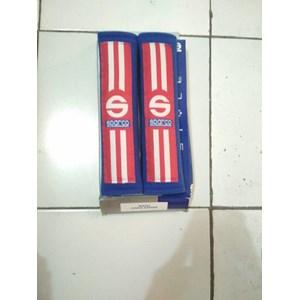 Seatbelt Pad Biru Merah Garis Dua Racing Sport - Seat Belt Sparco - Bantalan Universal