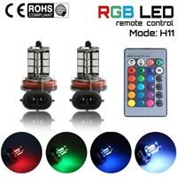 Jual LED Foglamp H11 RGB 27 TITIK - LED RGB Fog lamp H 11 REMOTE 5050 SMD 2