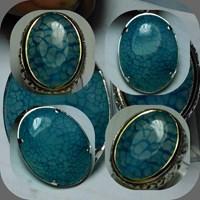 Batu Blue Chalcedony Motif  Sisik Naga Biru