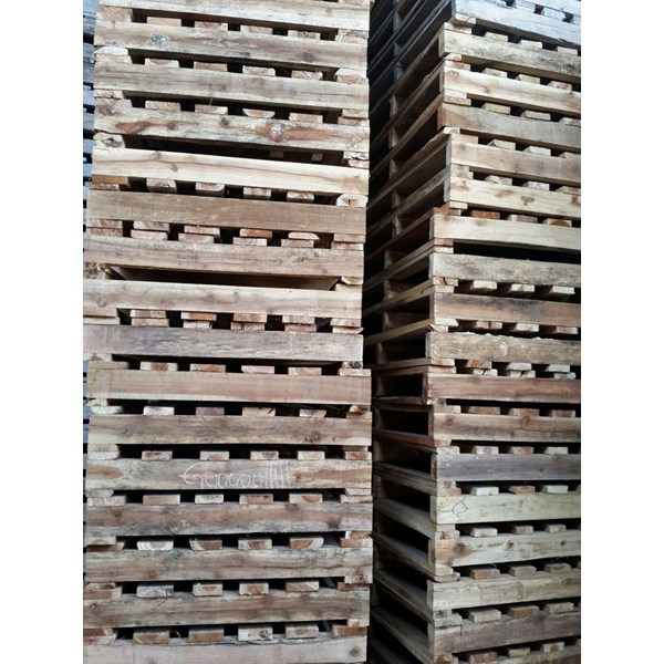 Pallet kayu ukuran 90 X 100 X 12 Cm Twoway single deck