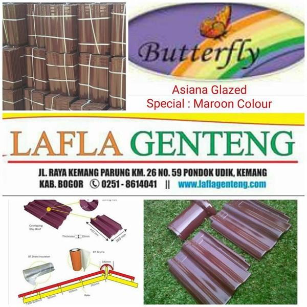 Genteng Keramik butterfly maroon