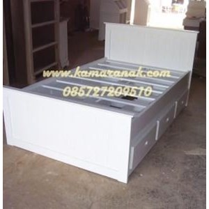 jual tempat tidur anak laki minimalis 6 laci warna putih