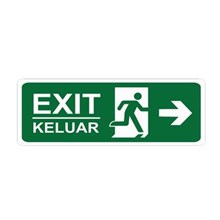 Safety Sign Exit Keluar Kanan Glow In The Dark