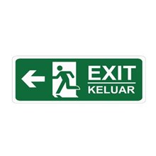 Safety Sign Exit Keluar Kiri Glow In The Dark