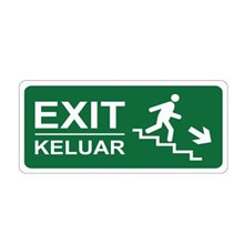 Safety Sign Exit Down Ladder Right Direction Glow In The Dark