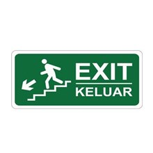 Safety Sign keluar Keluar Turun Tangga Kiri Glow In The Dark
