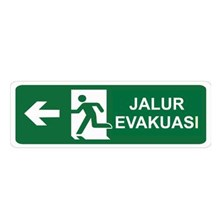 Safety Sign Jalur Evakuasi Kiri Glow In The Dark