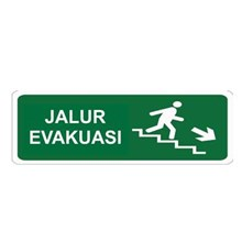 Safety Sign Jalur Evakuasi Turun Tangga Kanan Glow In The Dark