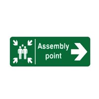 Safety Sign Assembly Point Right Direction Glow In The Dark 1