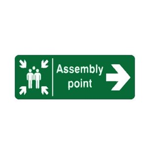 Safety Sign Assembly Point Right Direction Glow In The Dark