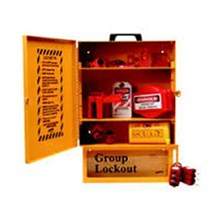 Brady 99710 Combined Lockout or Group Lockout Box Station with 6 Steel Padlocks