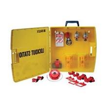 Keamanan segel 105941 listrik Lockout Station Kit dengan baja gembok Brady