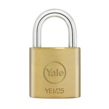 Yale Padlock YE1-25 Essential Series Indoor Brass Standard Shackle 25mm