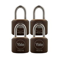Yale Padlock Y110J-15-111-4 Classic Series Indoor Black Cover Brass 15mm with Multi-pack