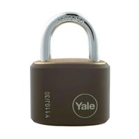 Yale Padlock Y110J-30-117-4 Classic Series Outdoor Black Cover Brass 34mm with Multi-pack