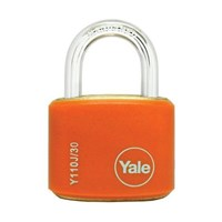 Yale Padlcok Y110J-30-117-2 Classic Series Outdoor Color Brass 34mm with Multi-pack Orange