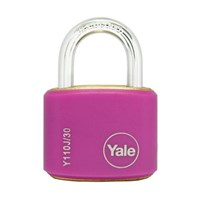 Yale Padlcok Y110J-30-117-2 Classic Series Outdoor Color Brass 34mm with Multi-pack Pink