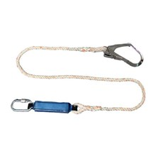 Protecta First 1390370 Single Leg Shock Absorbing Rope Lanyard with One Carabiner and One Scaffold Hook