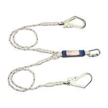 Protecta First 1390398 Twin Leg Shock Absorbing Rope Lanyard with One Carabiner and Two Scaffold Hooks