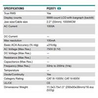 Jual Extech PQ2071 AC 1000 A Power Clamp Meter 2