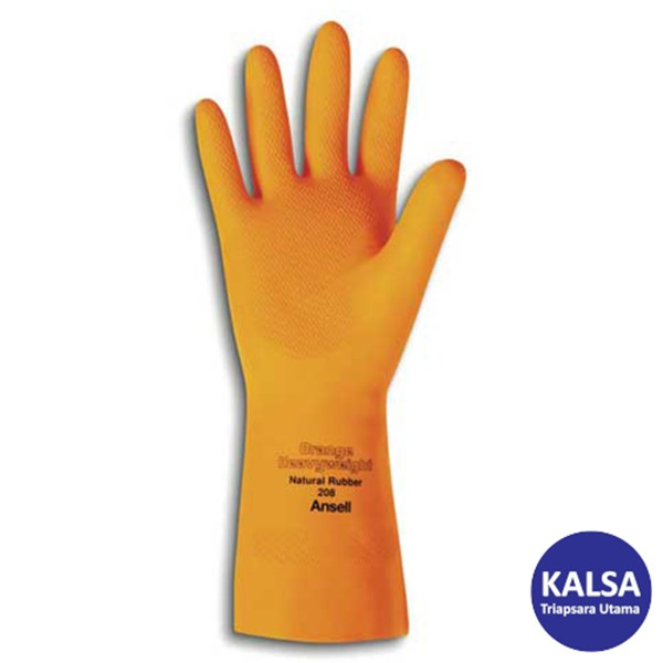 Ansell Orange Heavyweight 87-208 Natural Rubber Latex Chemical and Liquid Protection Glove