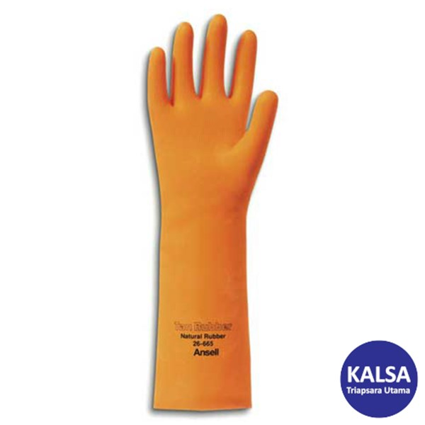 Ansell Tan Rubber 26-665 Natural Rubber Latex Chemical and Liquid Protection Glove