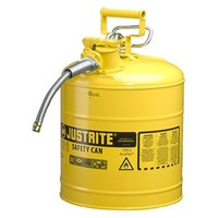 Justrite 7250220 Type II Yellow AccuFlow with Hose Safety Container
