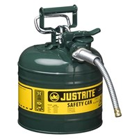 Justrite 7220420 Type II Green AccuFlow with Hose Safety Container