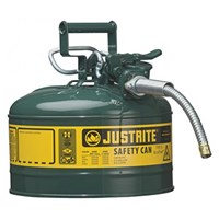 Justrite 7225420 Type II Green AccuFlow with Hose Safety Container