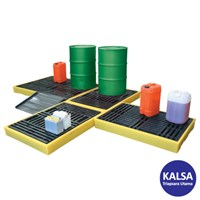 Solent SOL-741-0124C 4-Drum In Line Workfloor Spill Pallet Spill Containment