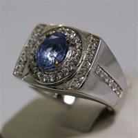 Distributor Cincin Permata Natural Blue Safir 2.21 ct Oval Modified Brilliant Biru Sri Lanka Heated 3