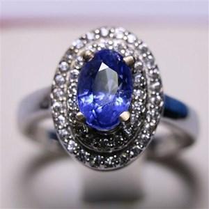 Cincin Permata Natural Blue Safir 2.14 ct Oval  Brilliant Biru Sri Lanka Heated