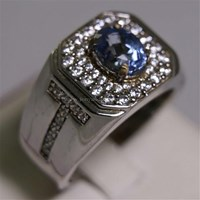 Beli Cincin Permata Natural Blue Safir 2.66 ct Oval  Modified Brilliant Biru Sri Lanka Heated 4