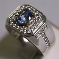 Distributor Cincin Permata Natural Blue Safir 2.66 ct Oval  Modified Brilliant Biru Sri Lanka Heated 3