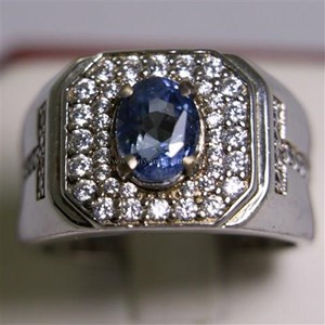 Cincin Permata Natural Blue Safir 2.66 ct Oval  Modified Brilliant Biru Sri Lanka Heated
