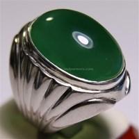Beli Cincin Permata Natural Chrome Chalcedony 34.70 ct Oval Cabochon Hijau No Treatment 4