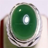 Cincin Permata Natural Chrome Chalcedony 34.70 ct Oval Cabochon Hijau No Treatment 1
