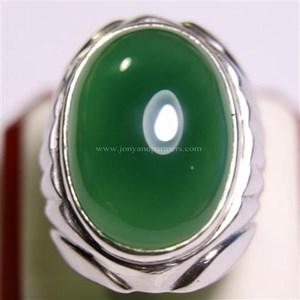 Cincin Permata Natural Chrome Chalcedony 34.70 ct Oval Cabochon Hijau No Treatment