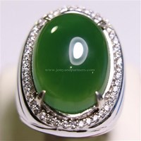 Beli Cincin Permata Natural Chrome Chalcedony 21.65 ct Oval Cabochon Hijau No Treatment 4