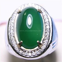 Cincin Permata Natural Chrome Chalcedony 9.00 ct Oval Cabochon Hijau No Treatment 1