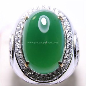 Cincin Permata Natural Chrome Chalcedony 14.89 ct Oval Cabochon Hijau No Treatment