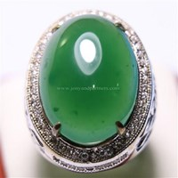 Beli Cincin Permata Natural Chrome Chalcedony 19.57 ct Oval Cabochon Hijau No Treatment 4