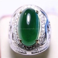 Cincin Permata Natural Chrome Chalcedony 9.92 ct Oval Cabochon Hijau No Treatment 1