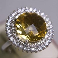 Cincin Permata Natural Citrine 8.24 ct Bulat Checkerboard Kuning No Treatment 1