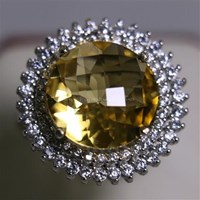Beli Cincin Permata Natural Citrine 8.24 ct Bulat Checkerboard Kuning No Treatment 4