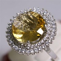 Jual Cincin Permata Natural Citrine 8.24 ct Bulat Checkerboard Kuning No Treatment 2
